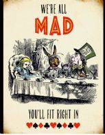 ALICE IN WONDERLAND 'MAD HATTERS TEA PARTY' LARGE VINTAGE STYLED WALL ART SIGN